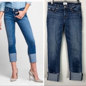 Hudson Tally Deep Cuff Crop Jeans Raw Hem